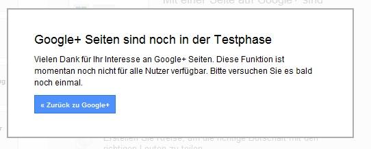 UnternehmensProfil GooglePlus Testphase