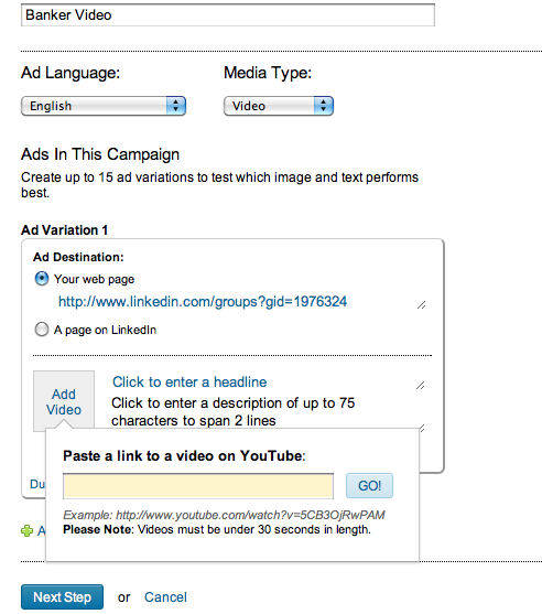 LinkedIn Ads Video auswählen