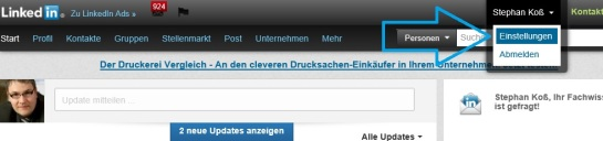 LinkedIn Einstellungen Start