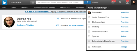 Konto schließen LinkedIn 1
