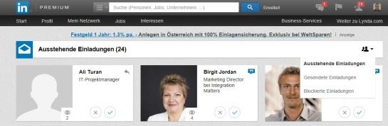 Einladungen bei LinkedIn zurückziehen