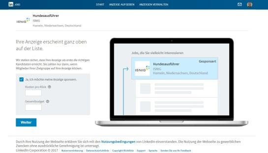 Stellenanzeige bei LinkedIn sponsorn