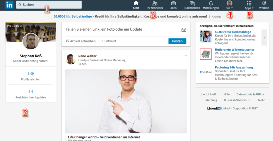 Neue LinkedIn Oberfläche GUI LinkedIn 2017