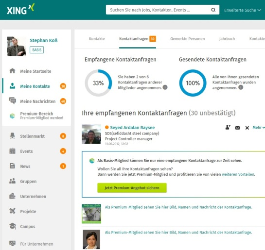 Kontaktseite bei XING