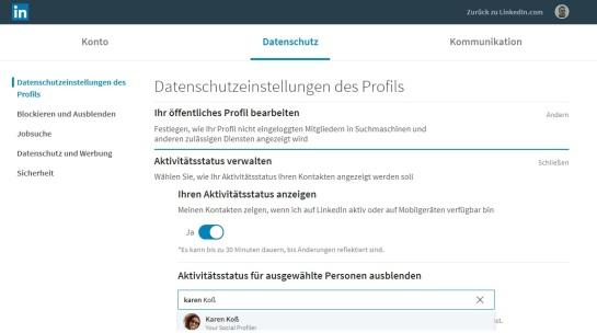 Online Status LinkedIn deaktivieren